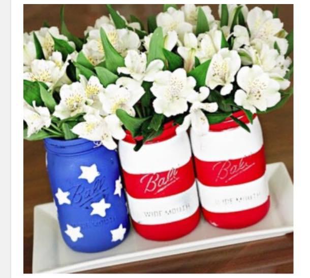 Americana Mason Jar- Set of 3