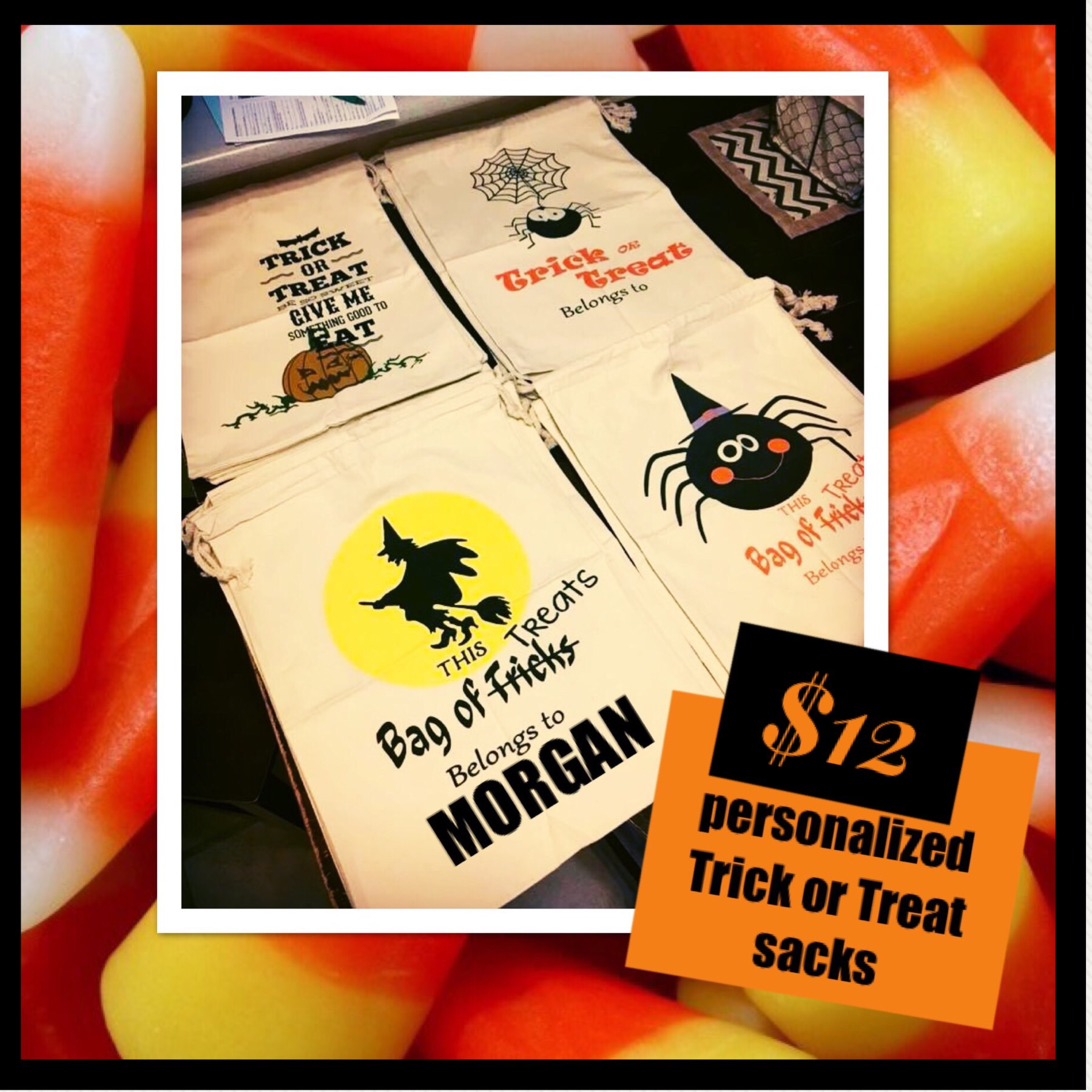 Order your personalized Trick or Treat Sacks Here