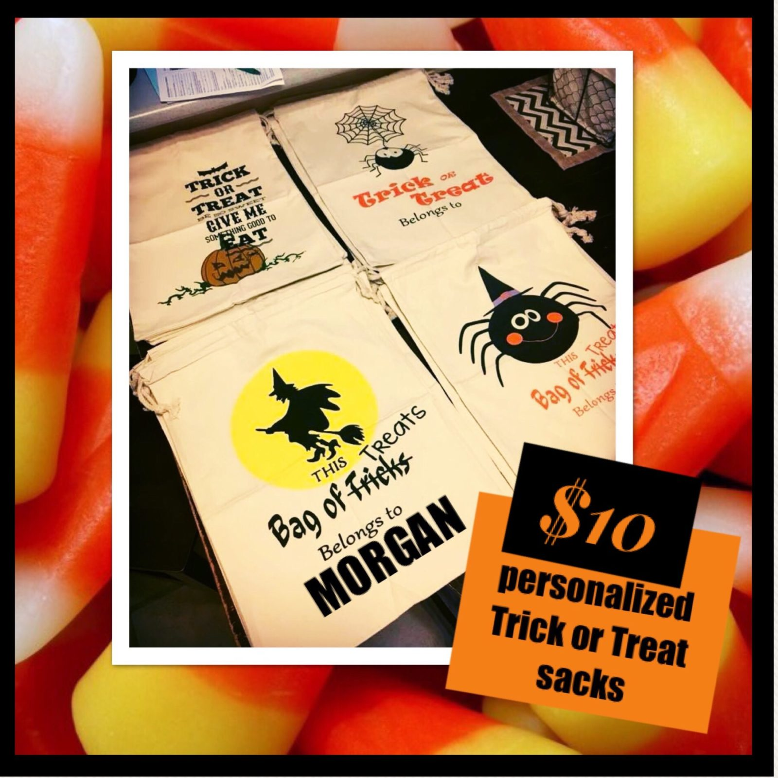 Personalized Trick or Treat sacks ready for Friday night pick up!