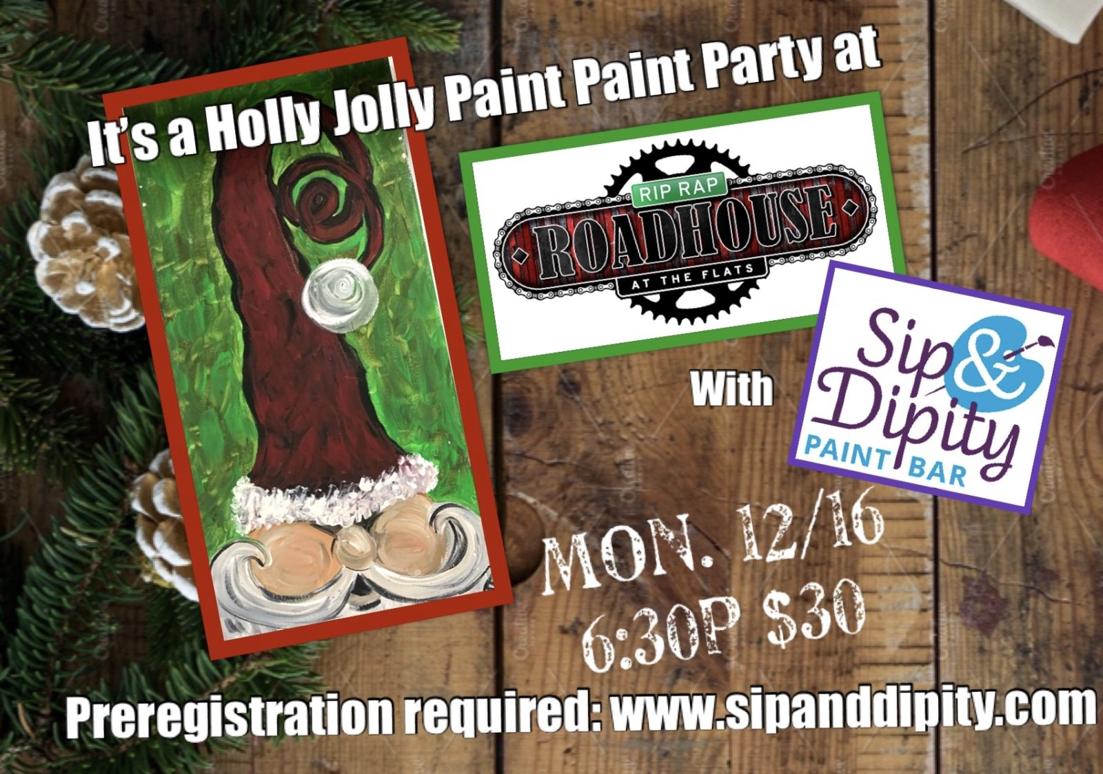 Paint Party at the Rip Rap Roadhouse- open to the public