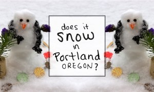 """An answer to the frequently-asked PDX travel question: """"Does is snow in Portland, Oregon?"""" + tips to make a DIY mini snowman."""