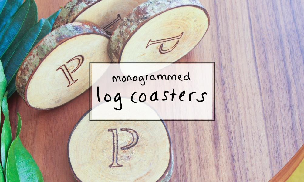Monogrammed log coasters – a creative wedding gift idea