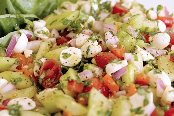 Caprese cucumber tomato salad