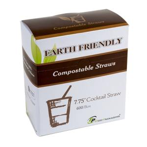 "7.75"" Black Compostable PLA Straws"