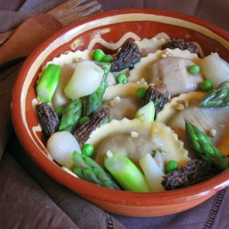 Wild Mushroom Agnolotti with Spring Vegetable Ragout