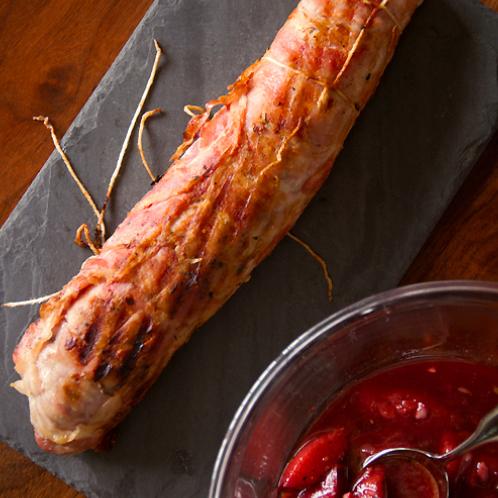 pacetta-wrapped pork tenderloin