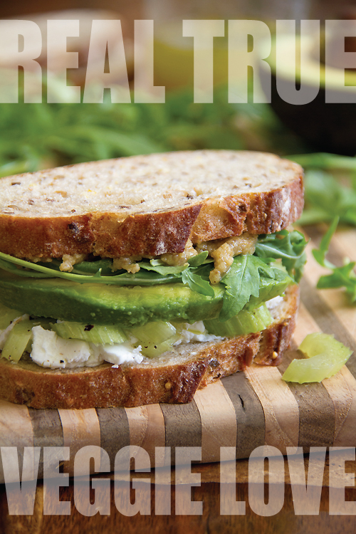 Goat Cheese, Celery and Avocado Sandwich with Walnut Butter and Arugula