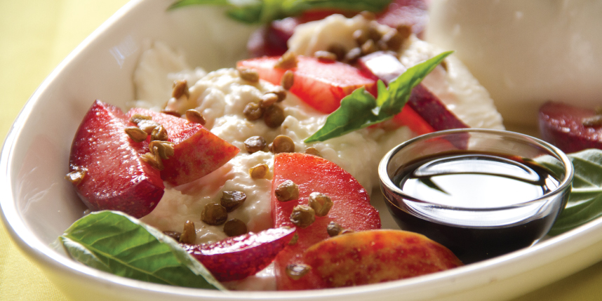 Burrata with Plums with Crunchy Lentils