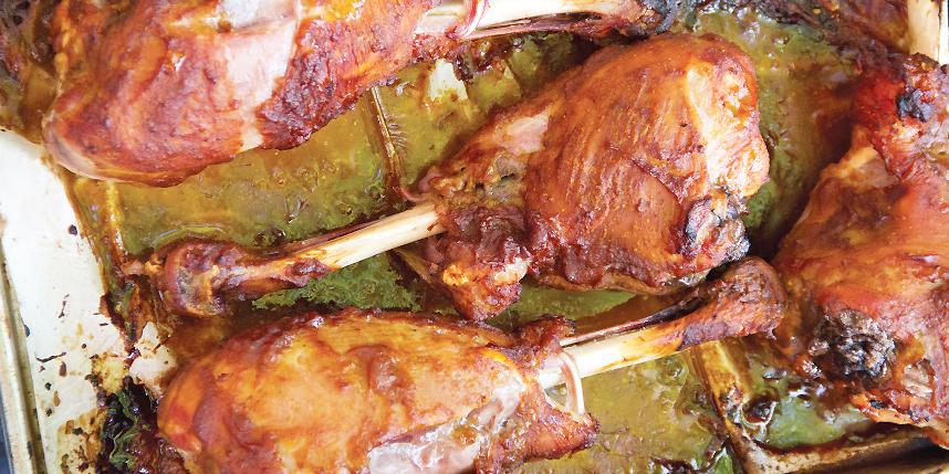 Pumpkin Molasses Glazed Turkey Drumsticks