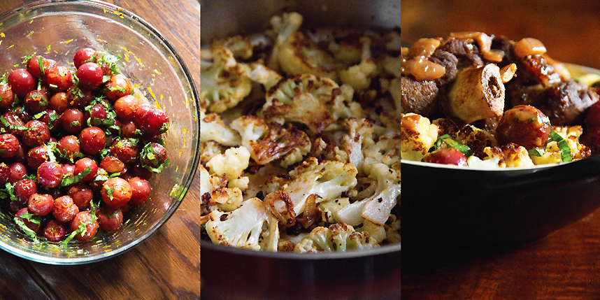 Braised Lamb Shanks with Curried Cauliflower and Roasted Grapes