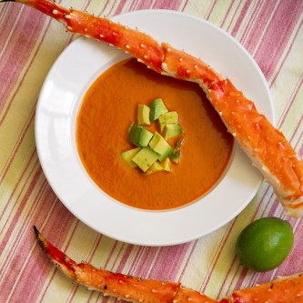 Red Pepper Soup with Crab, Avocado and Lime