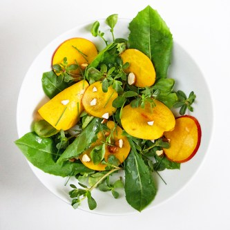 Dandelion, Purslane, Watercress Salad with Nectarines