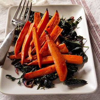 Spicy Glazed Sweet Potatoes and Sweet Potato Greens