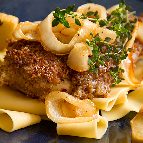 Pecan-Crusted Chicken with Roasted Apples and Maple-Bourbon Gravy