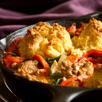Sausage and Red Pepper Polenta Cobbler