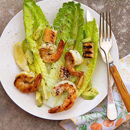 Orange Cirtus Grilled Shrimp Caesar Salad