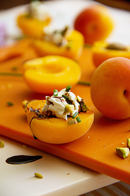 Stuffed Apricots with Cream Cheese, Pistachios, Chives and Balsamic Reduction
