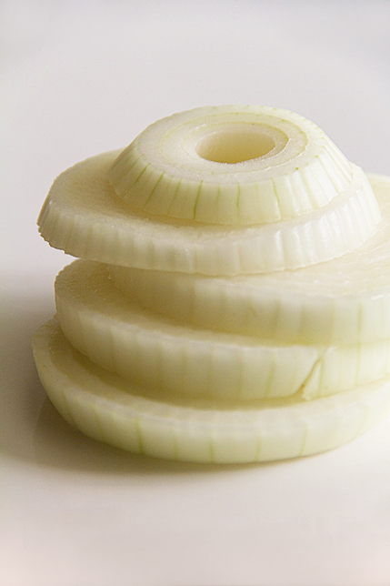 Stack of sweet onion slices