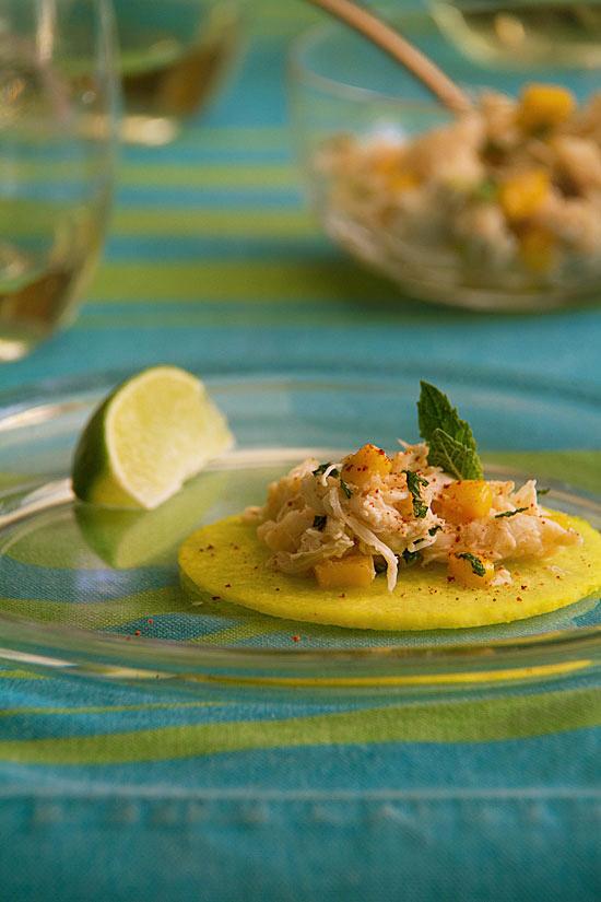 "Crab Salad Taco with Pickled Jicama ""Tortillas"""