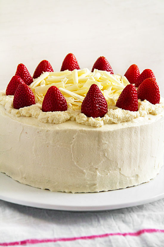 Orange-Scented White Chocolate Cake with Strawberries