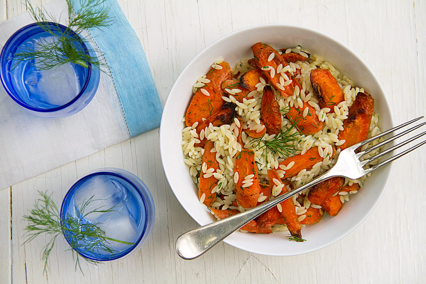 Potluck Salad: Orzo and Roasted Carrots