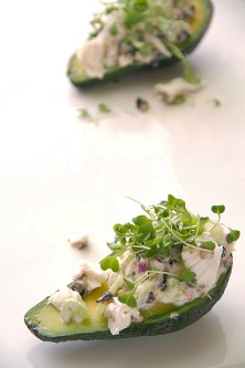 Oil-Poached Halibut and Avocado Salad