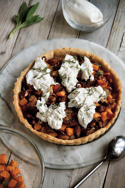 Chanterelle Mushroom and Butternut Squash Tart with Burrata