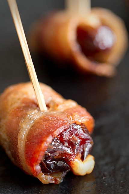 Parmesan-Stuffed Dates Wrapped in Bacon