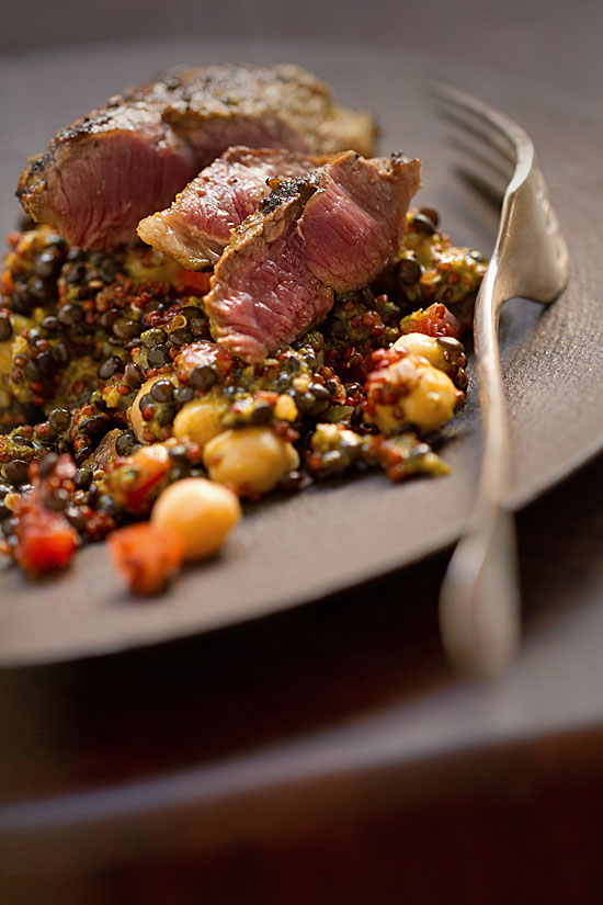 Grilled Lamb Vadouvan with Lentils, Quinoa, and Chickpeas