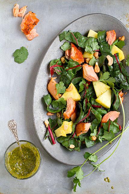 Smoked Salmon Salad with Pineapple, Chard and Chili-Coriander Sauce