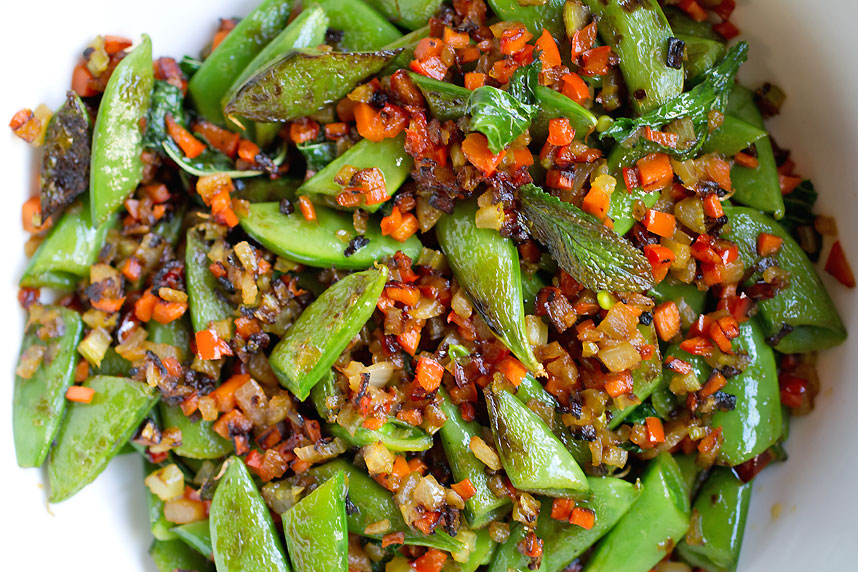 Snap Peas with Sofrito and Mint