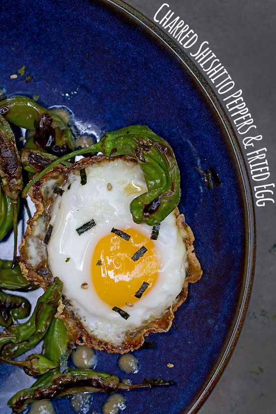 Blistered Shishito Peppers with Fried Egg