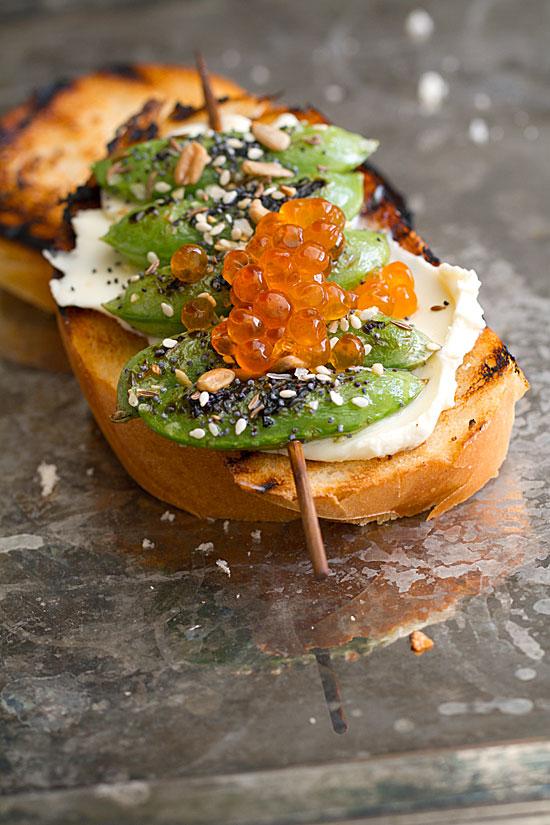 Grilled Snap Pea Toast with Mascarpone & Everything-Bagel Seasoning