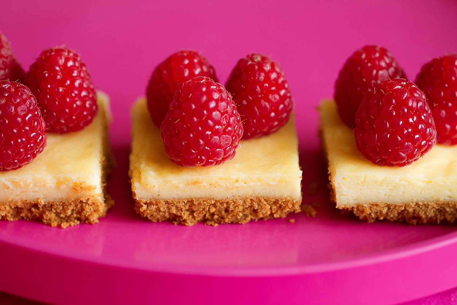 White Chocolate Cheesecake Squares with Fresh Raspberries