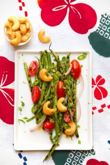 Grilled Spicy Green Beans with Cashews and Basil