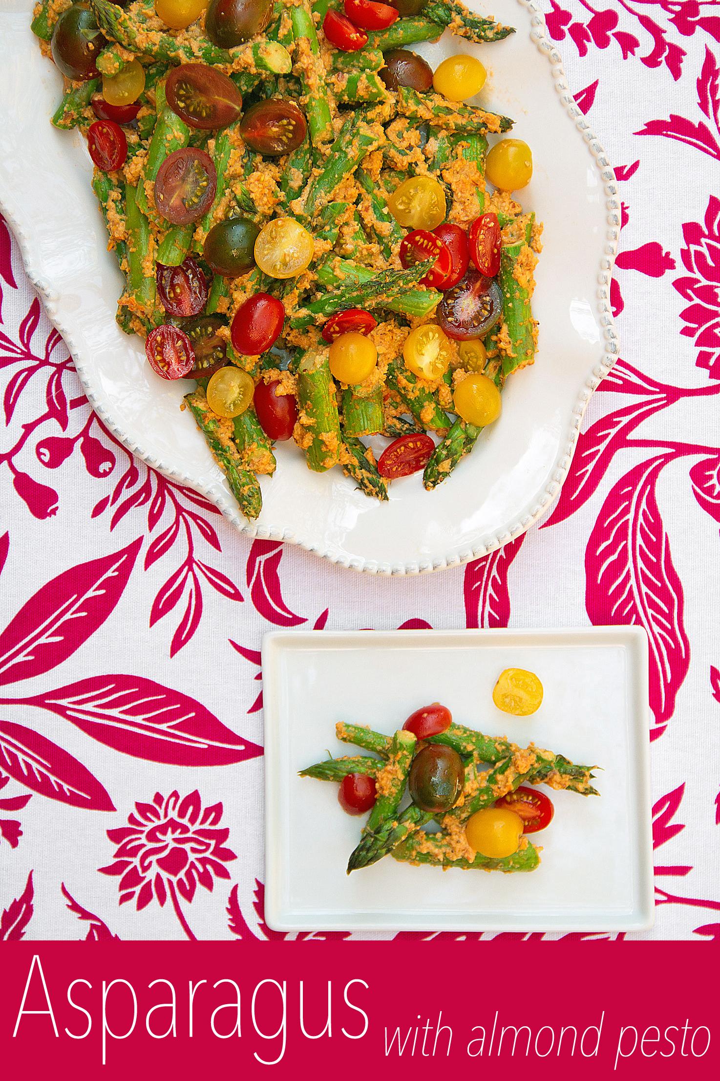Roasted Asparagus with Tomato-Almond Pesto Trapanese