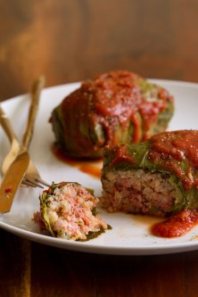 Pork-Stuffed Collards with Tomato Sauce