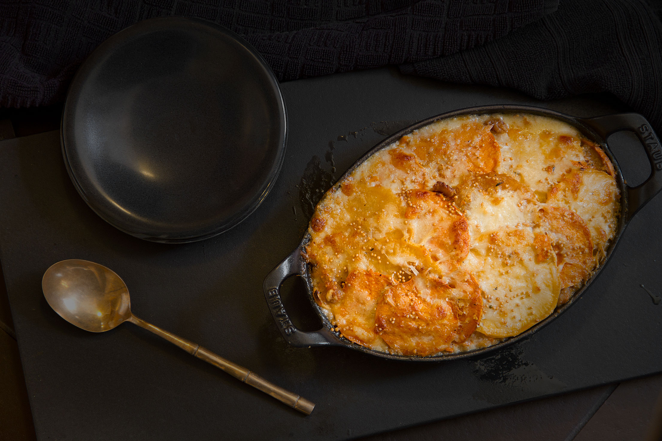 Root Vegetable Gratin with Mustard Cream