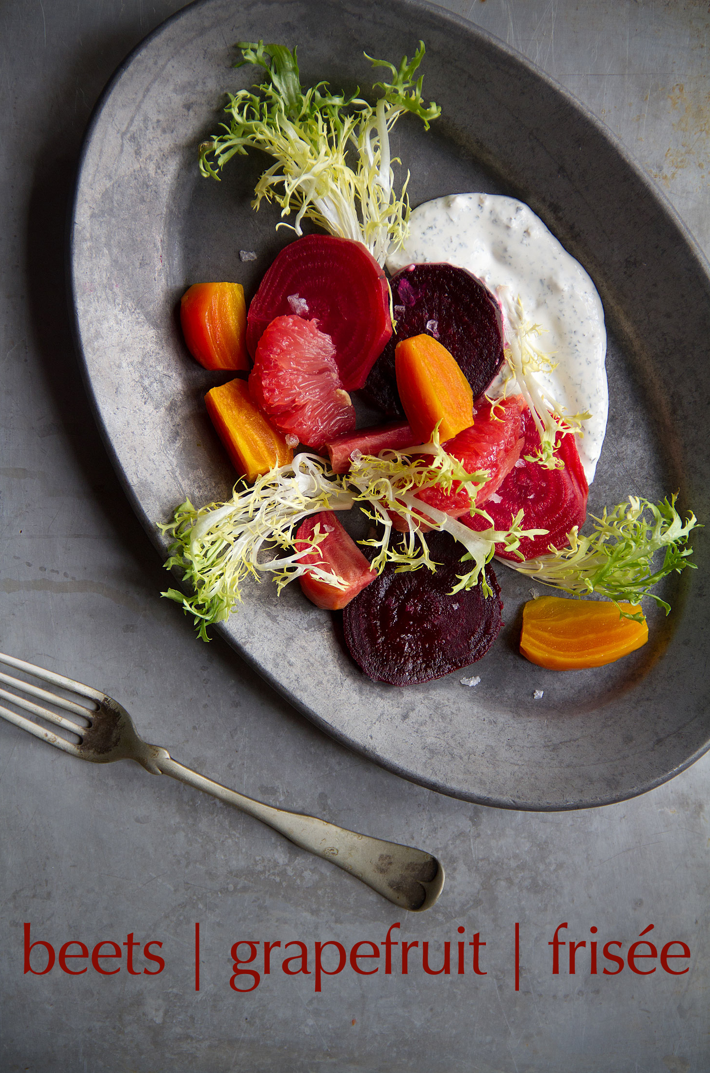 Roasted beets with grapefuit and frisee