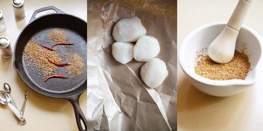 Spiced Sticky Scallops Raw