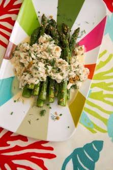 Grilled Asparagus with Warm Crab Salad