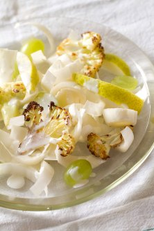 White Salad of Cauliflower, Endive, Pears and Grapes