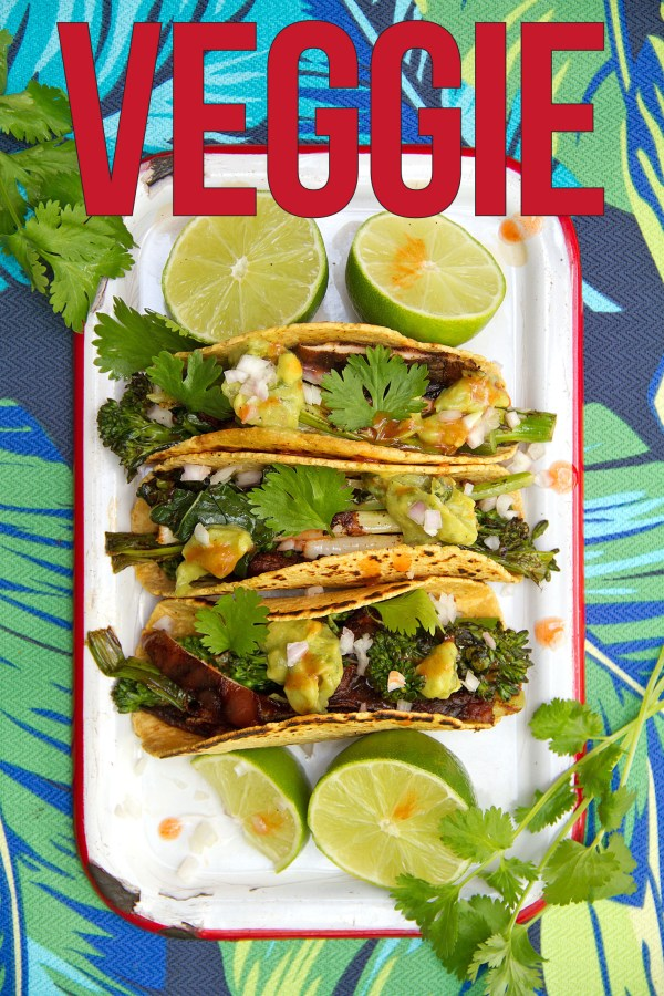 vegetarian tacos with grilled broccolini and shiitake mushrooms