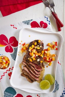 grilled steak with papaya
