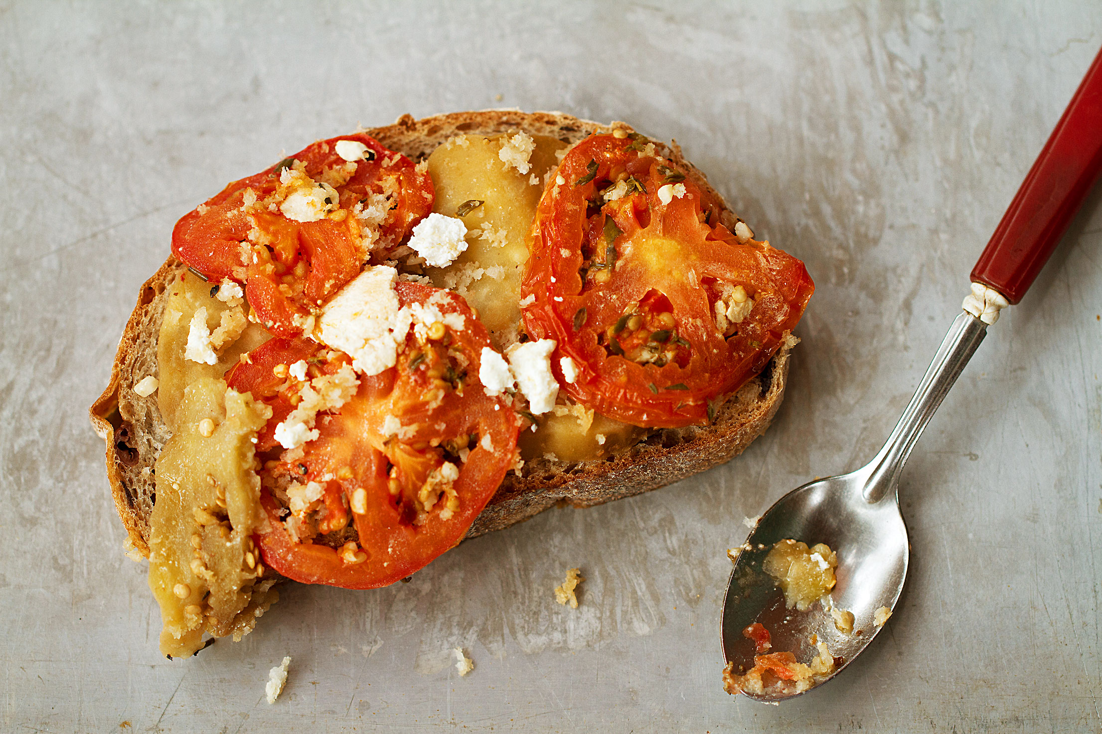 Tomato-Eggplant Tian on Olive Bread