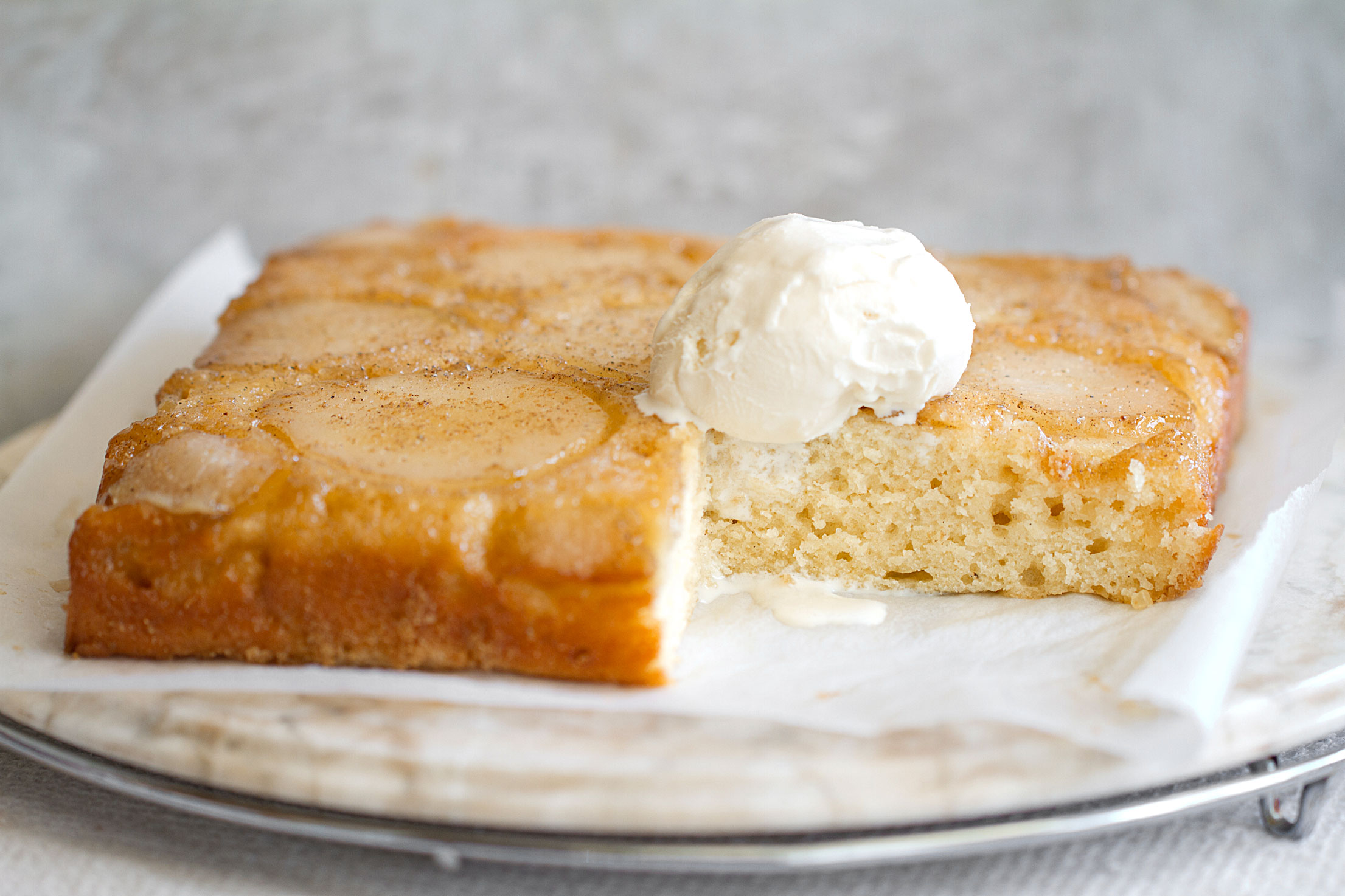 Pear Upside-Down Cake with Maple and Cardamom