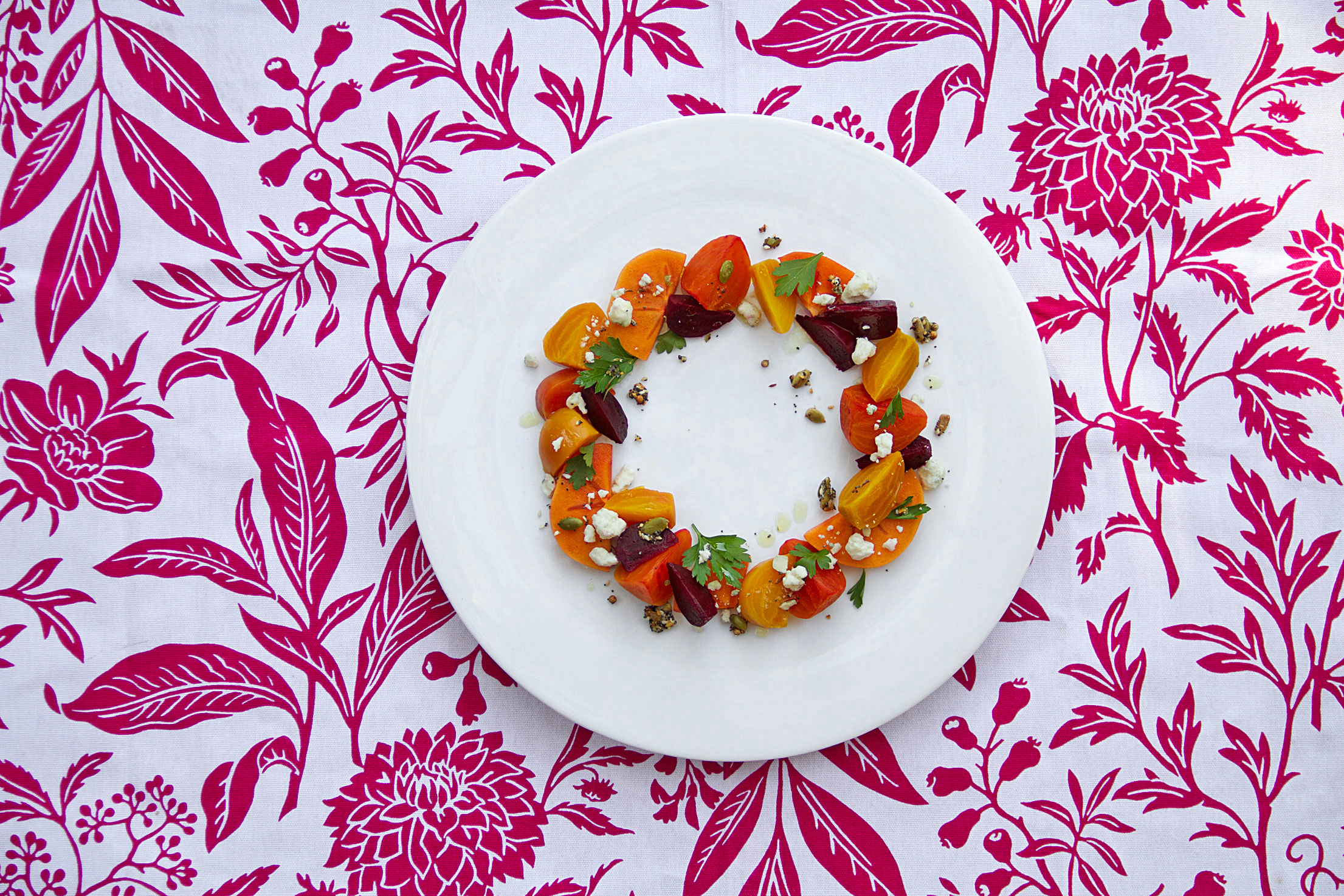 Beet and Persimmon Salad with Blue Cheese and Crunchy Seeds