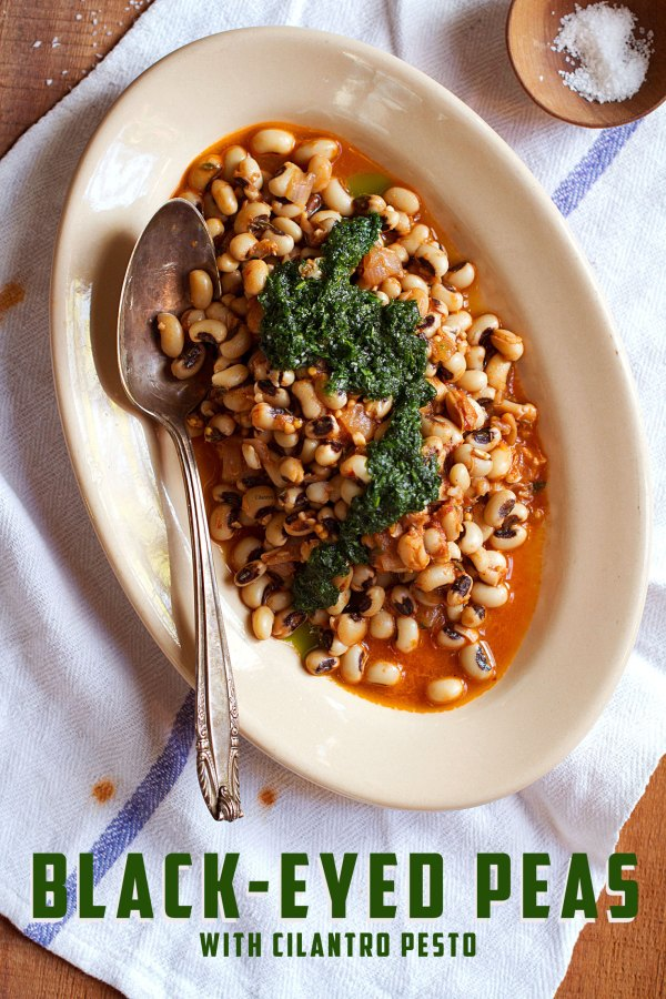 Black-Eyed Peas in Guajillo Sauce with Cilantro Pesto