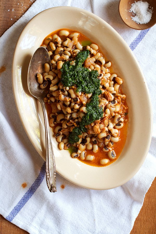 Good Luck Beans: Black-Eyed Peas in Guajillo Sauce with Cilantro Pesto