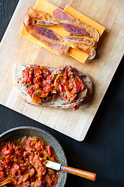 Grilled Meatloaf Sandwich with Bacon, Cheddar, and Curry-Tomato Relish